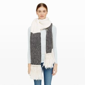 100% CASHMERE Chunky knit Cozy Large Fringes Scarf